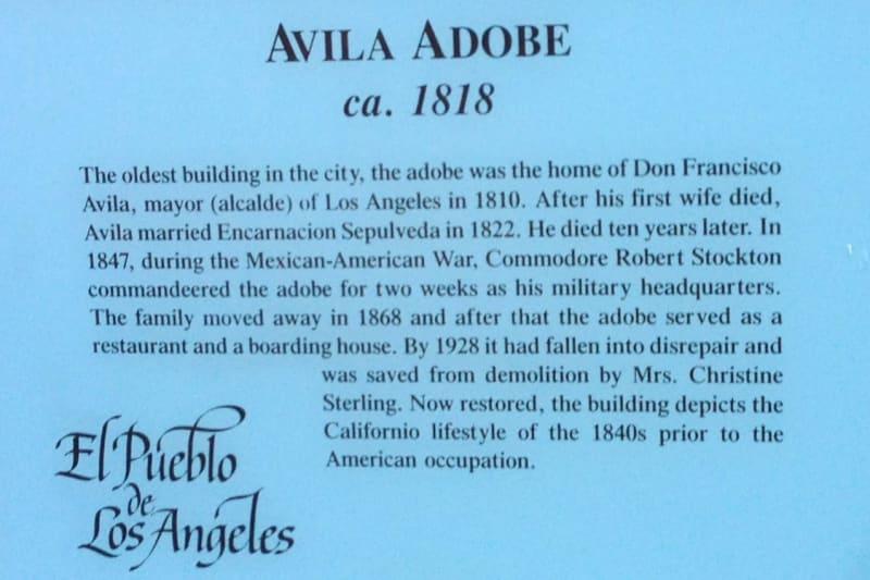 NO. 145 AVILA ADOBE - Private Plaque