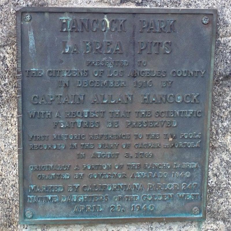 "NO. 170 HANCOCK PARK LA BREA - ""Old Style"" State Plaque"