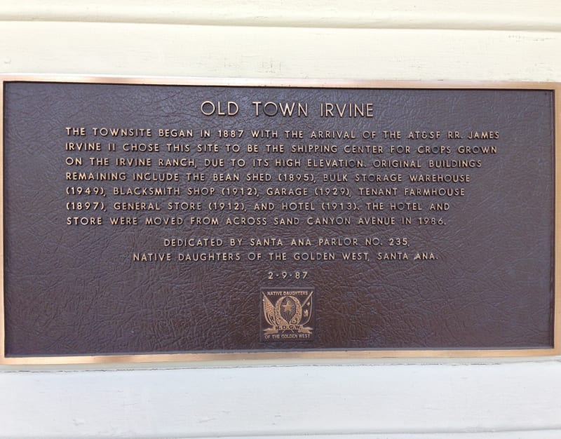 NO. 1004 OLD TOWN IRVINE - Private Plaque on wall of General Store
