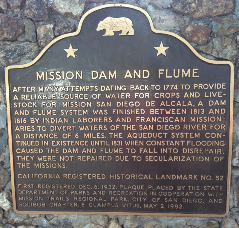 NO. 52  MISSION DAM AND FLUME - State Plaque