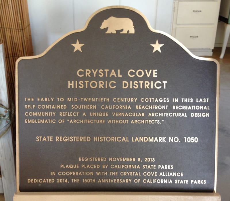 1050 CRYSTAL COVE HISTORIC DISTRICT - State Plaque