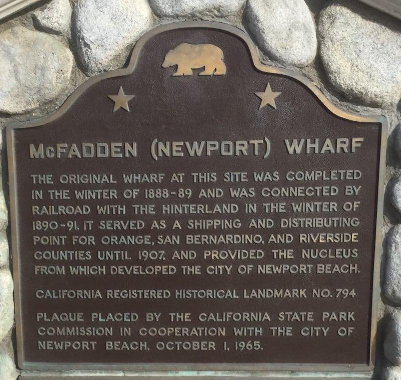 NO. 794 McFADDEN WHARF - State Plaque