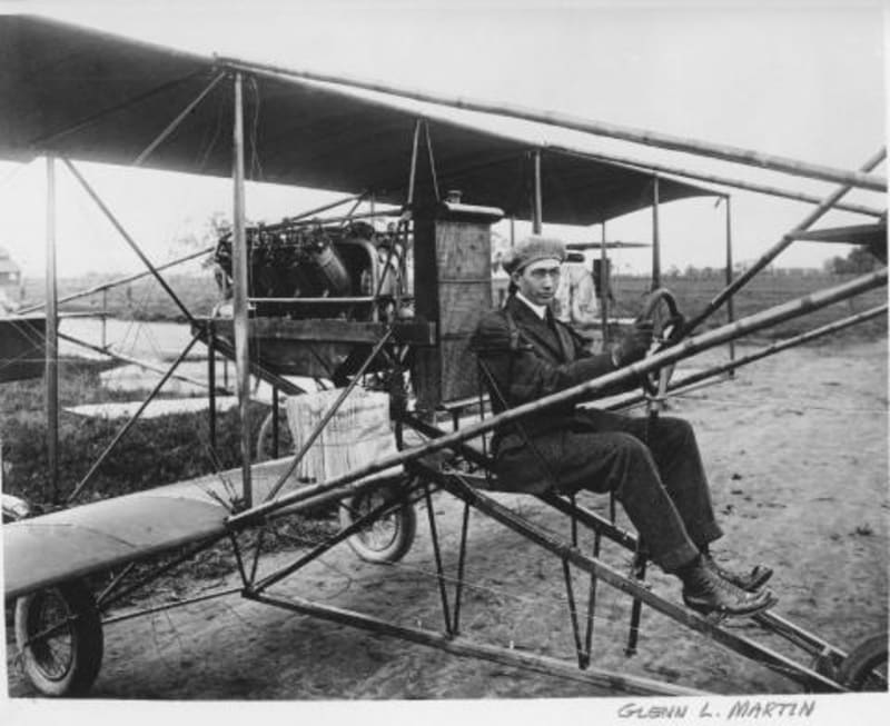 Martin in his pusher bi-plane