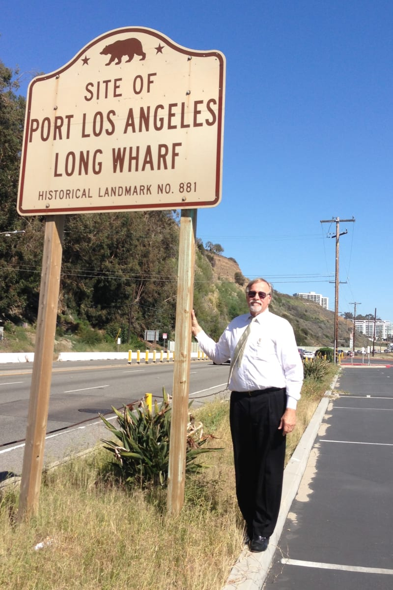 CHL No. 881 Port of Los Angeles Long Wharf - Road Sign