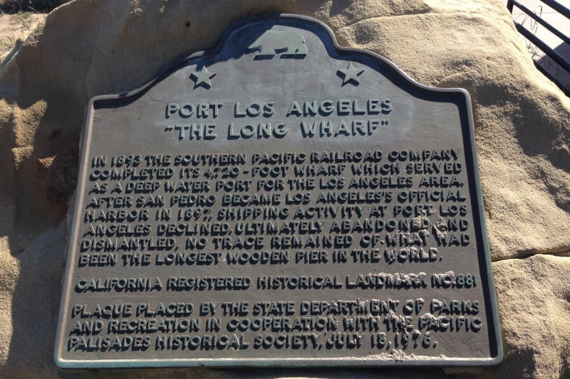 CHL No. 881 Port of Los Angeles Long Wharf - State Plaque