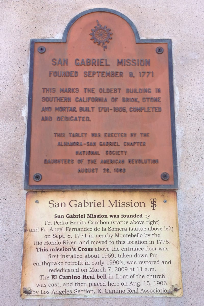 CHL #158 Mission San Gabriel Arcángel - Private Plaque