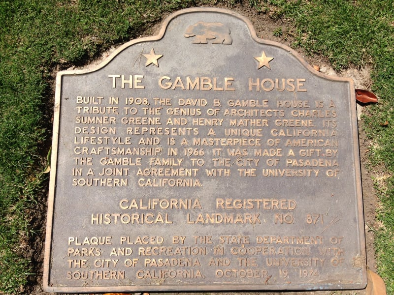 NO. 871 THE GAMBLE HOUSE - State Plaque
