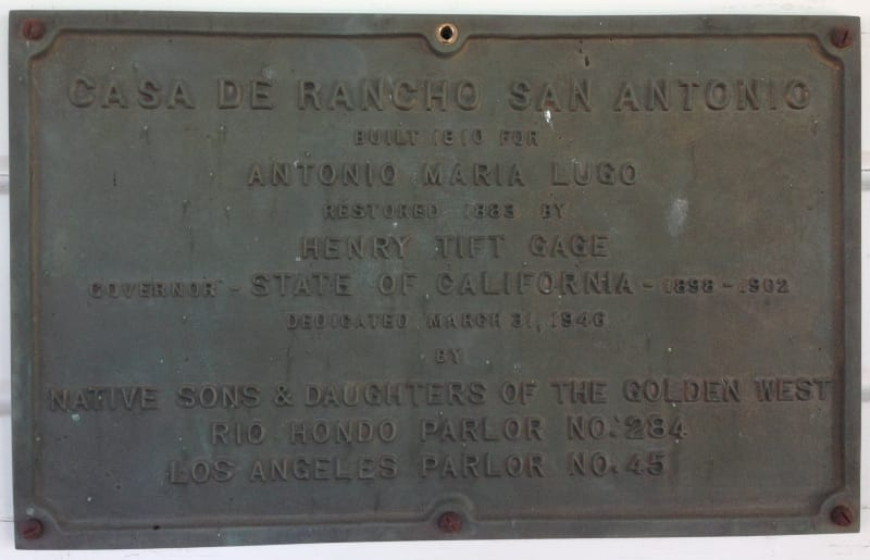 NO. 984 CASA DE RANCHO SAN ANTONIO (HENRY GAGE MANSION) - Private Plaque