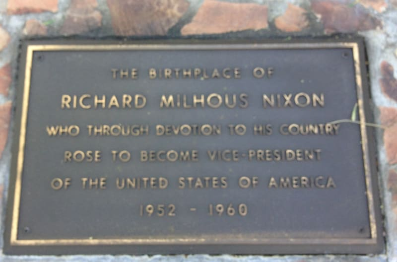 NO. 1015 RICHARD NIXON BIRTHPLACE -  Private Plaque
