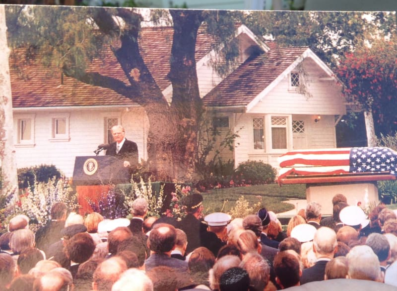 NO. 1015 RICHARD NIXON BIRTHPLACE - Nixon's Funeral in front of his Childhood Home