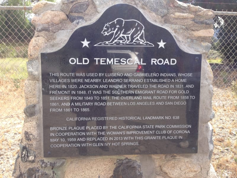 NO. 638 OLD TEMESCAL ROAD - State Plaque