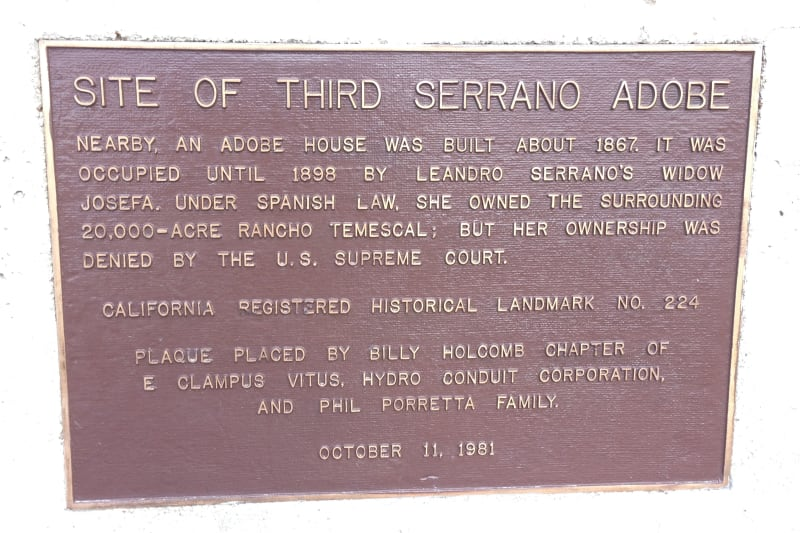 NO. 224 RUINS OF THIRD SERRANO ADOBE - Private Plaque