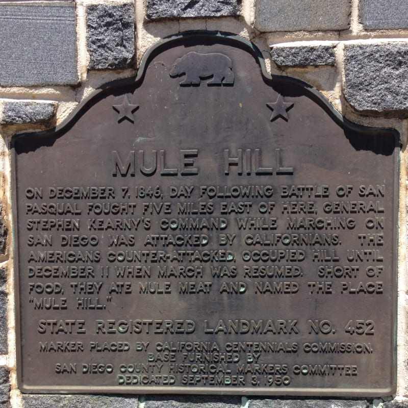 NO. 452 MULE HILL - State Plaque