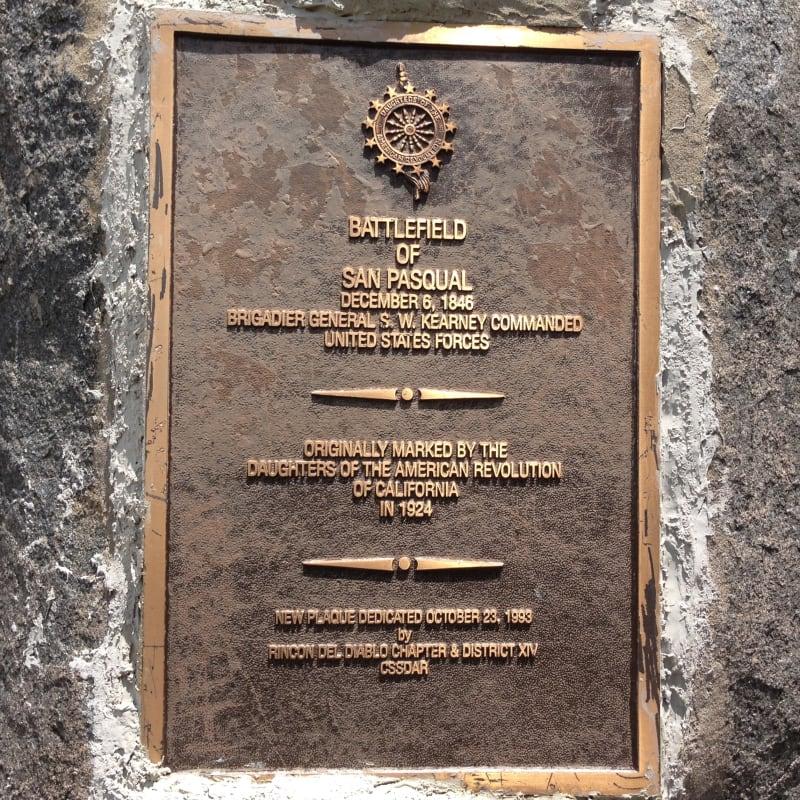 NO. 533 SAN PASQUAL BATTLEFIELD STATE PARK - D.A.R. Plaque