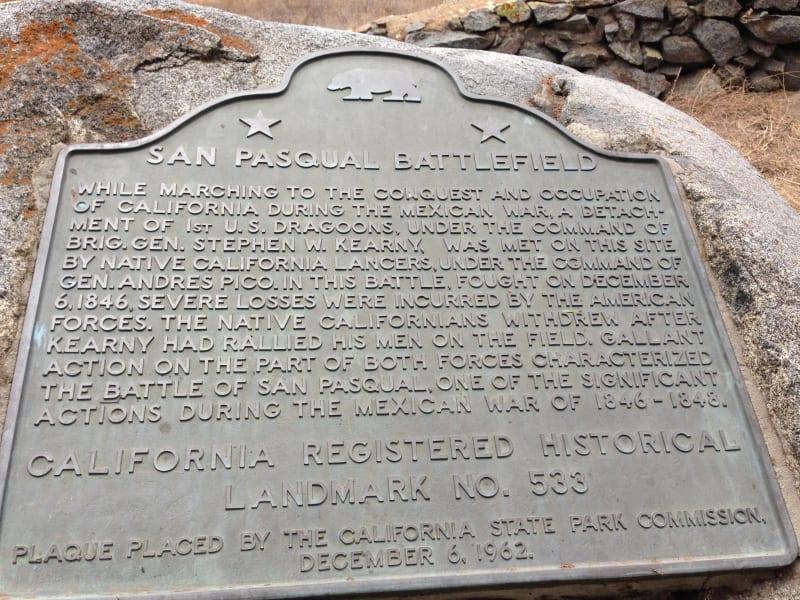 NO. 533 SAN PASQUAL BATTLEFIELD STATE PARK -State Plaque