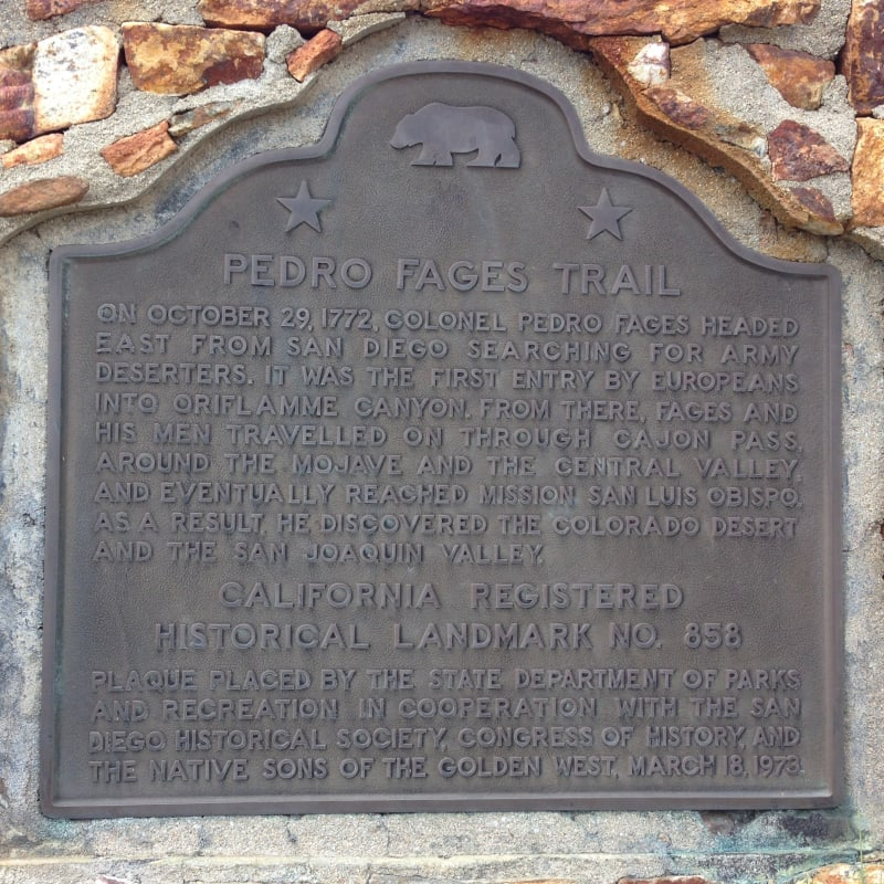 NO. 858 PEDRO FAGES TRAIL - State Plaque