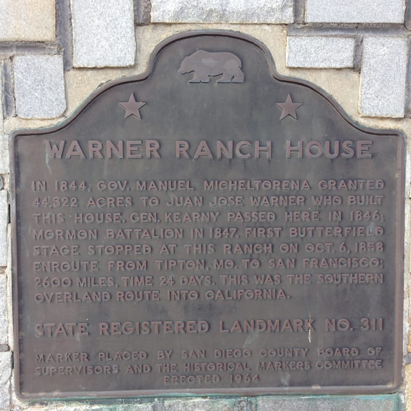 NO. 311 WARNER'S RANCH - State Plaque