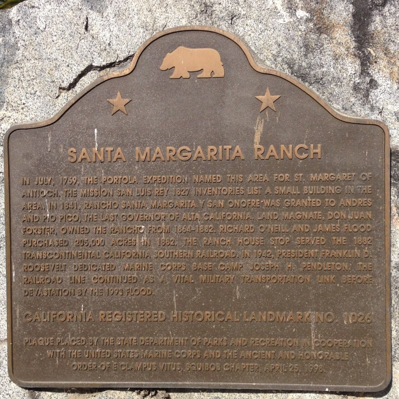 NO. 1026 SANTA MARGARITA RANCH HOUSE -  State Plaque