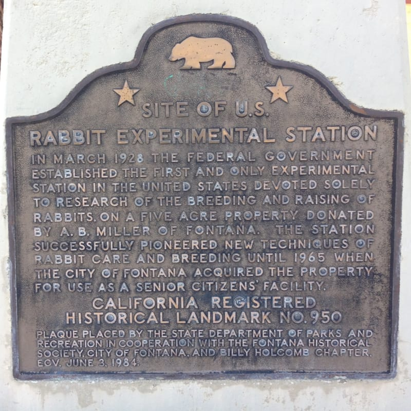 NO. 950 UNITED STATES RABBIT EXPERIMENTAL STATION -  State Plaque