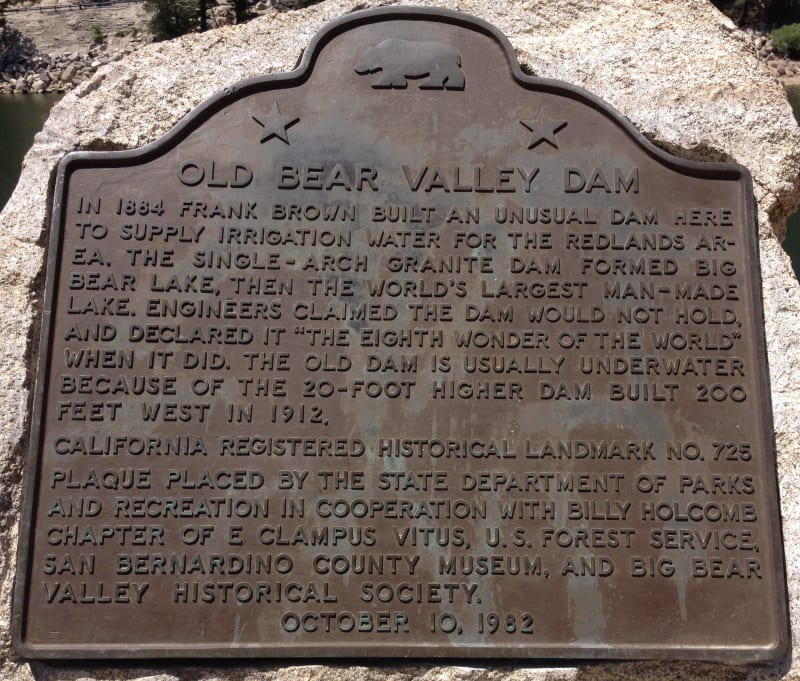 NO. 725 OLD BEAR VALLEY DAM - State Plaque