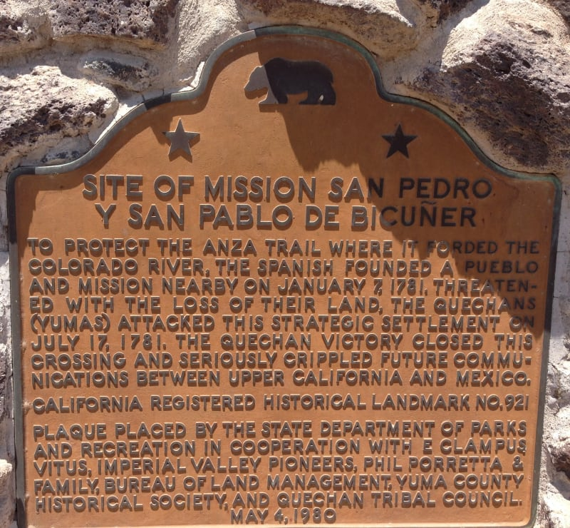 NO. 921 SITE OF MISSION SAN PEDRO Y SAN PABLO DE BICUNER - State Plaque