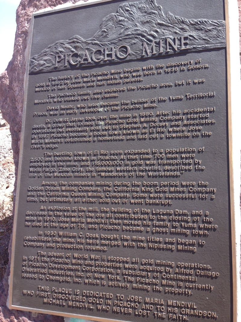 NO. 193 PICACHO MINES - Private Plaque at the Site