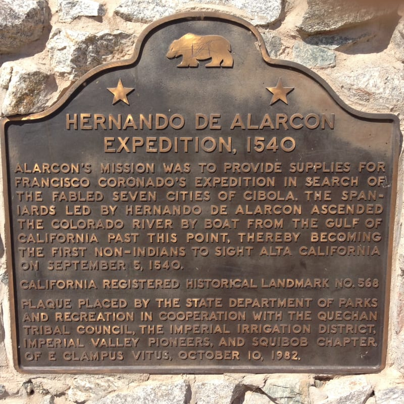 NO. 568 HERNANDO DE ALARCÓN EXPEDITION - State Plaque