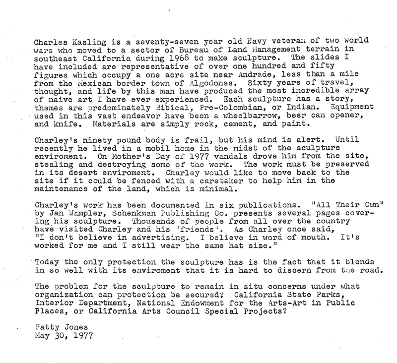 Brief Bio of Charlie Kasling, 5/30/1977