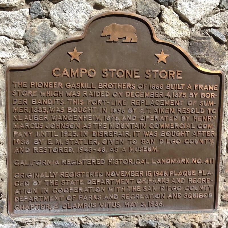 NO. 411 CAMPO STONE STORE - State Plaque