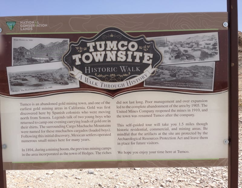 NO. 182 TUMCO MINES - Trailhead to Tumco Townsite and Mine