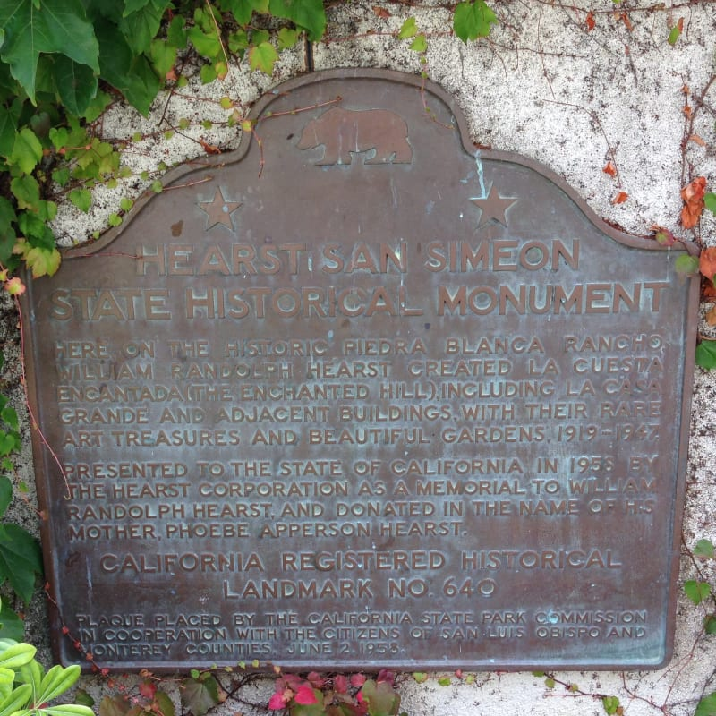 NO. 640  HEARST SAN SIMEON - State Plaque