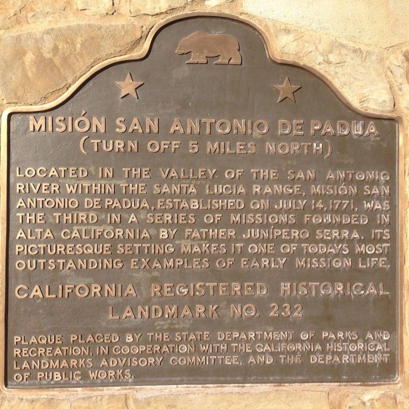 CHL No. 232 - Mission San Antonio de Padua - Second State Plaque