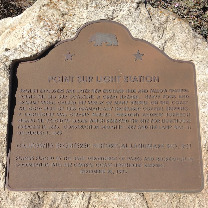 NO. 951 POINT SUR LIGHT STATION - State Plaque
