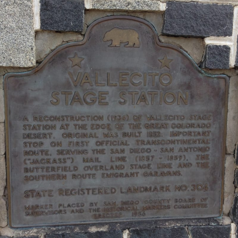 NO. 304 VALLECITO STAGE DEPOT (STATION) - State Plaque