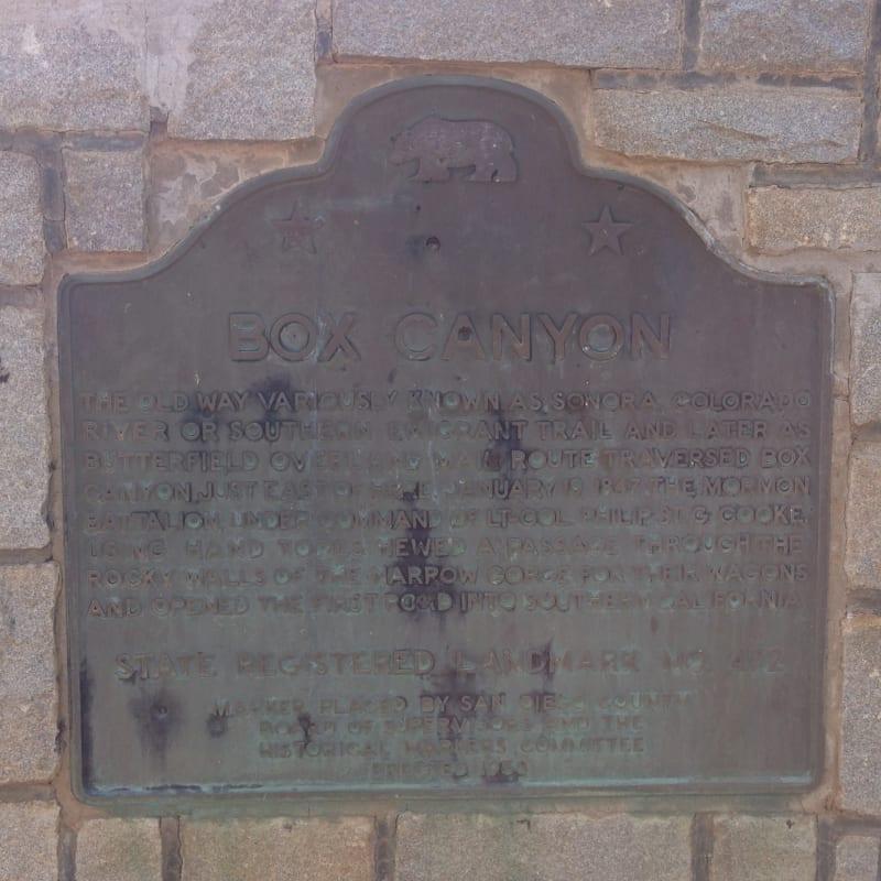 NO. 472 BOX CANYON - State Plaque