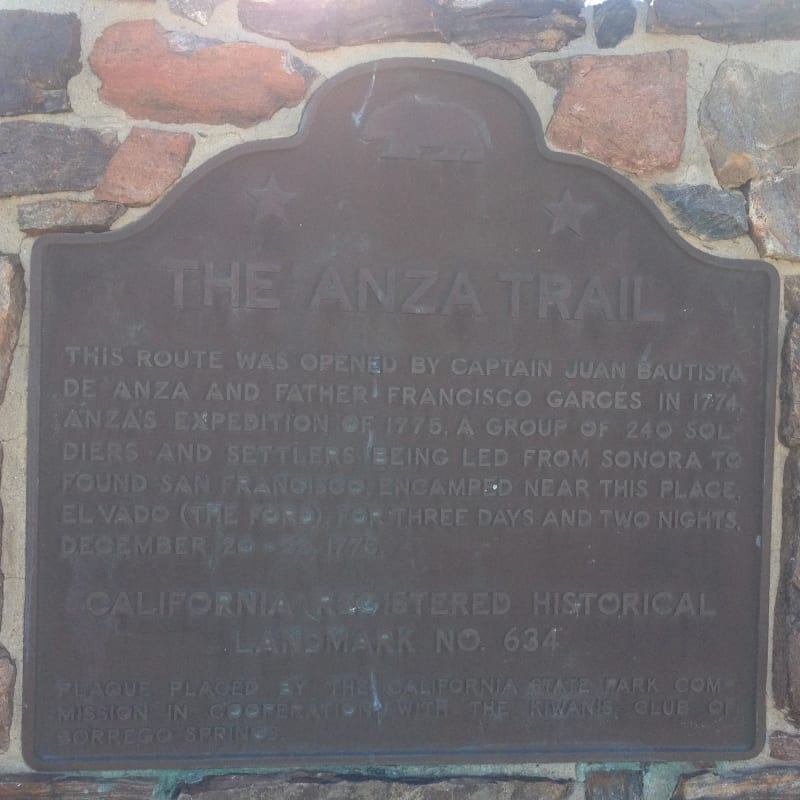 NO. 634 EL VADO  (The Anza Trail) - State Plaque