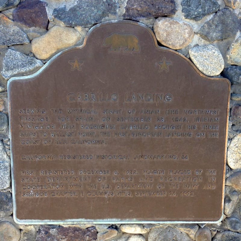 NO. 56 CABRILLO LANDING SITE - State Plaque