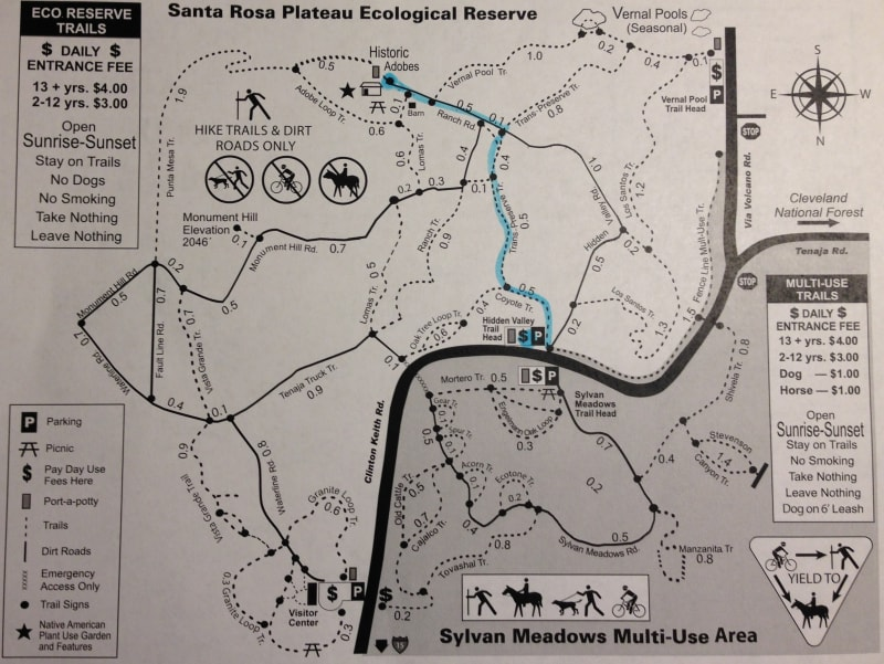 NO. 1005 SANTA ROSA RANCHO - Trail map is oriented South-North instead of North-South.