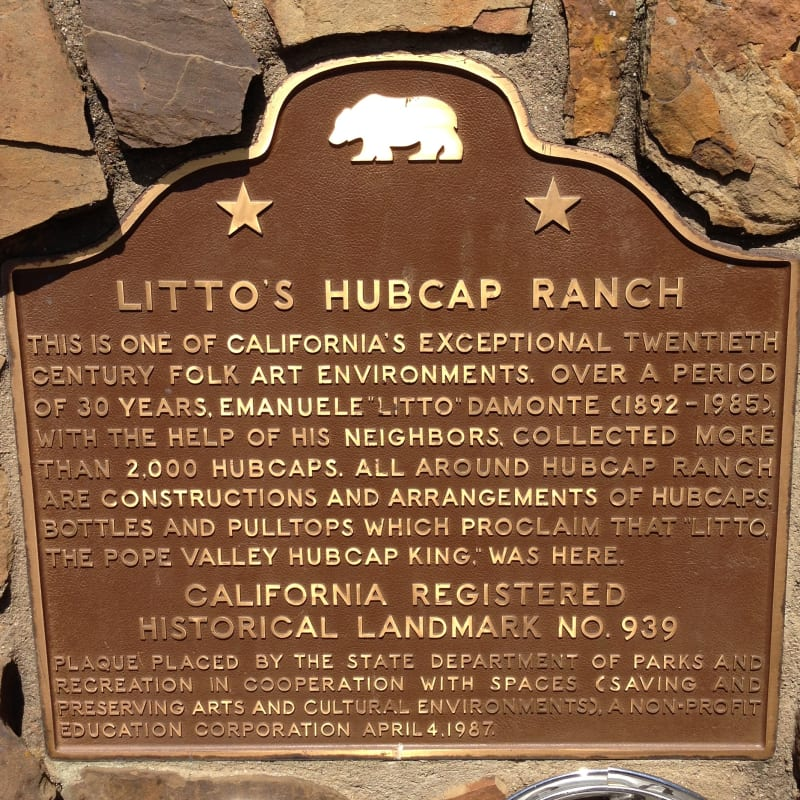 NO. 939 Litto's Hubcap Ranch- State Plaque