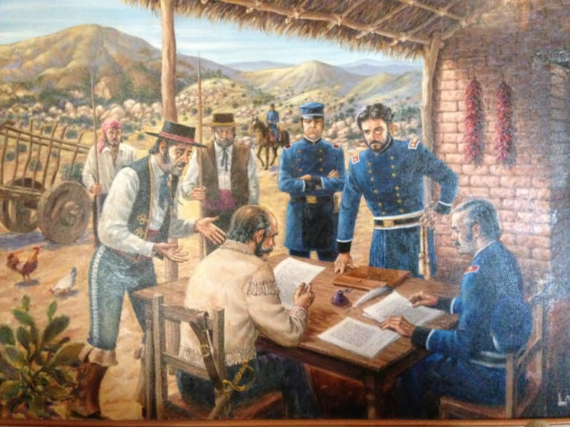 No. 151 Campo de Cahuenga - Painting on display in the museum