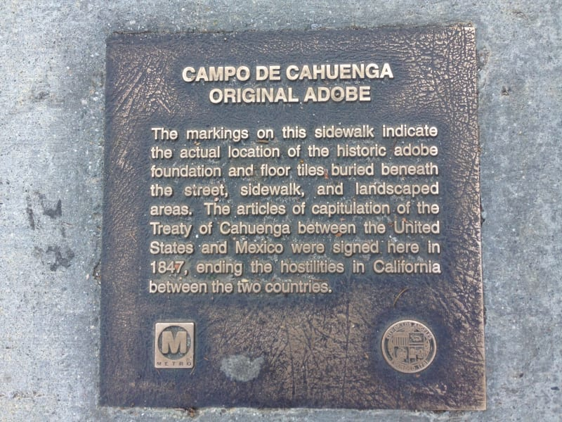 No. 151 Campo de Cahuenga - Sidewalk plaque marking adobe fountain