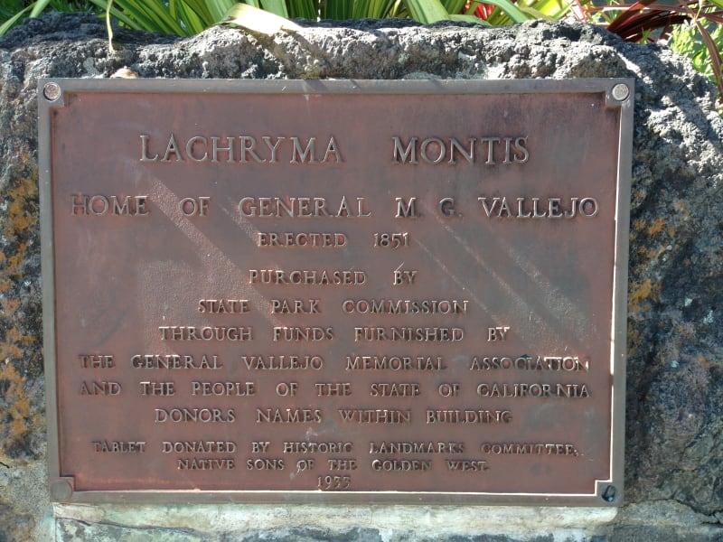 CHL #4 Vallejo Estate plaque
