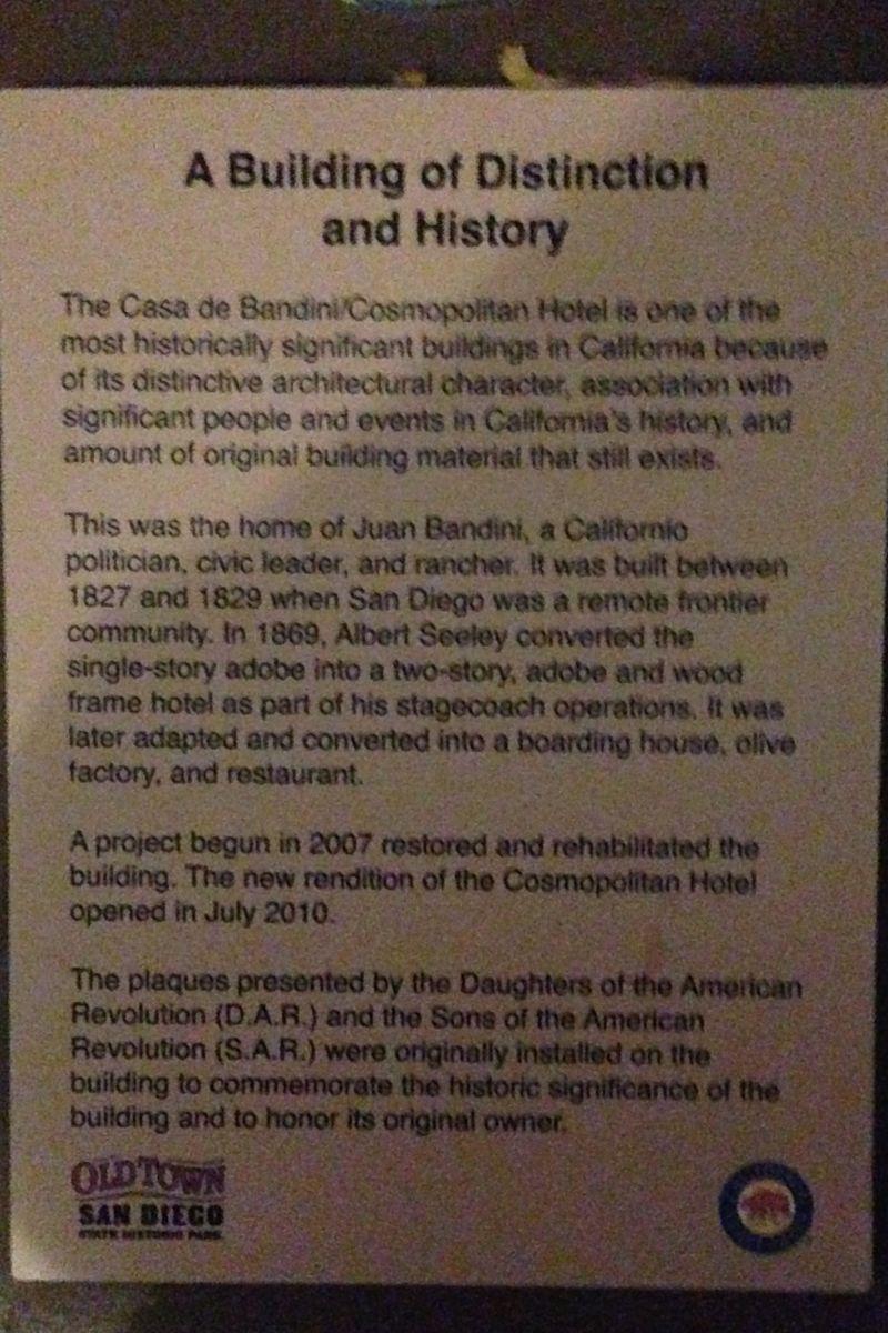 CHL #72  Casa de Bandini Private Plaque