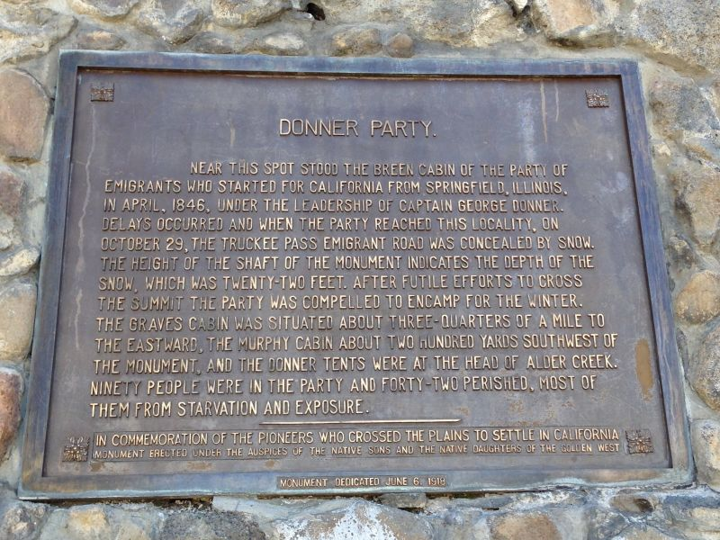CHL #134 - Donner Party Memorial State Park Plaque