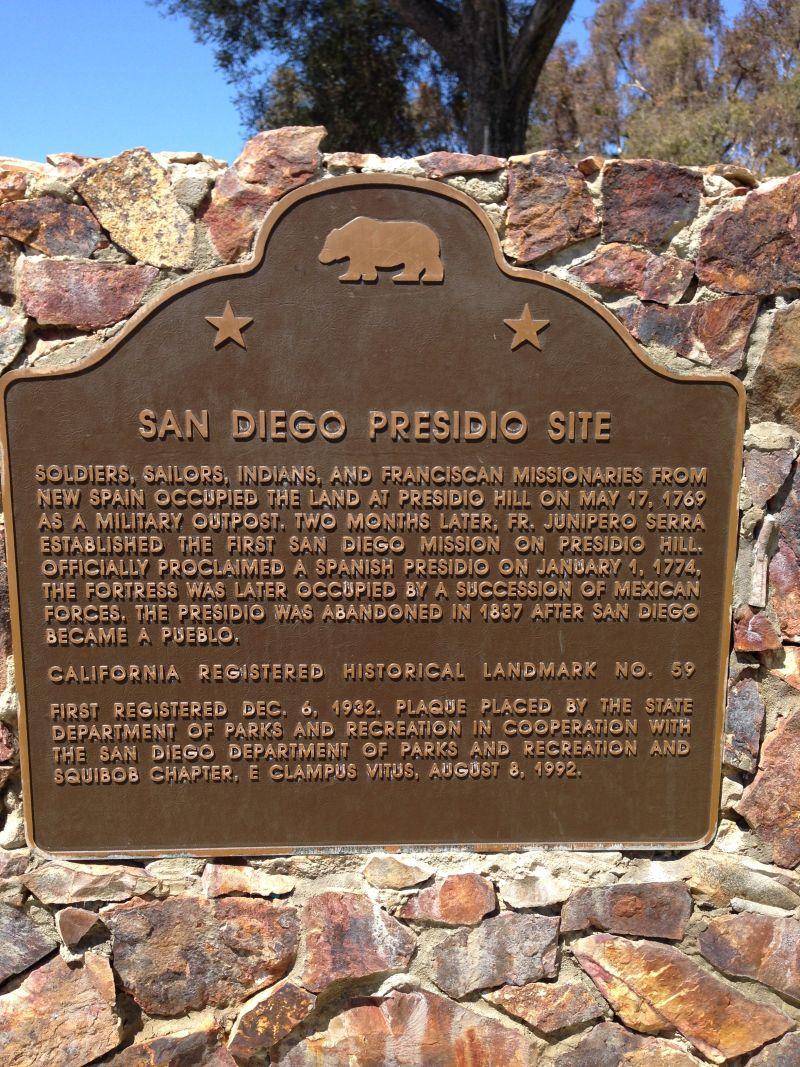 CHL #59 San Diego Presidio Site State Plaque