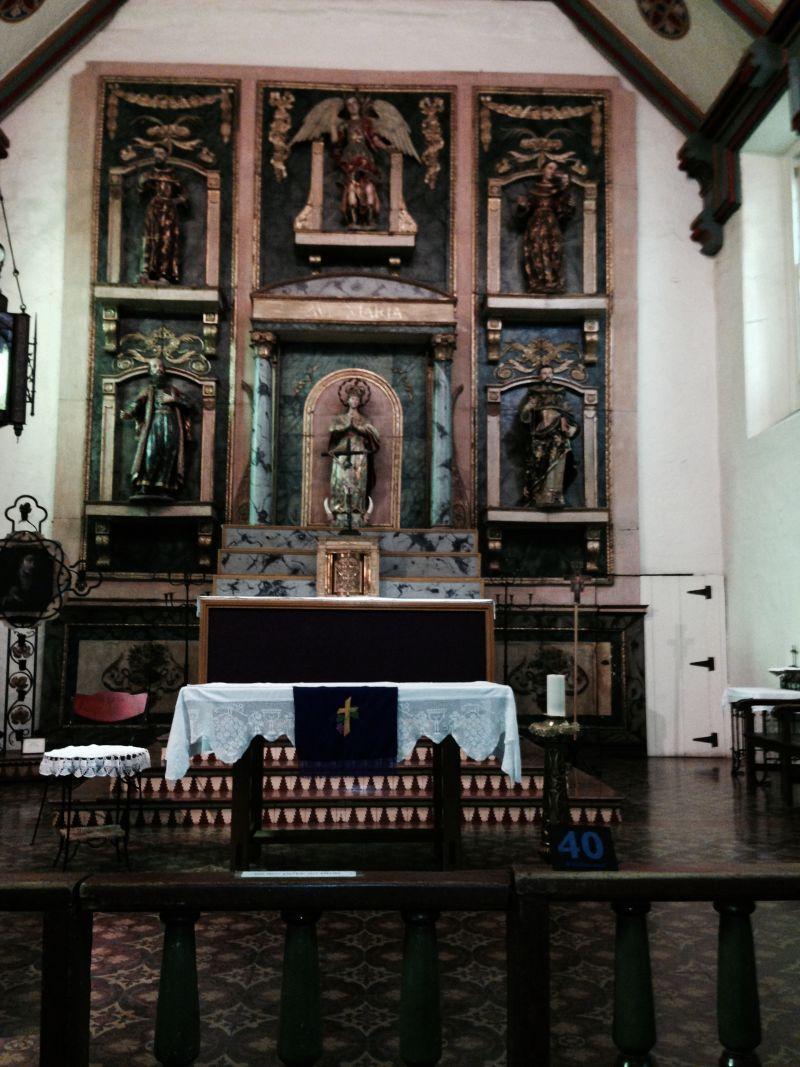 CHL #158 - Mission San Gabriel Arcángel  -- Front Altar