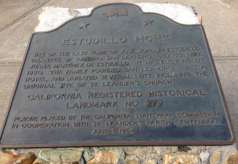CHL #279 Estudillo Home-- State Plaque