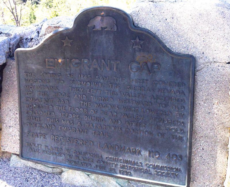CHL #403  Emigrant Gap State Plaque