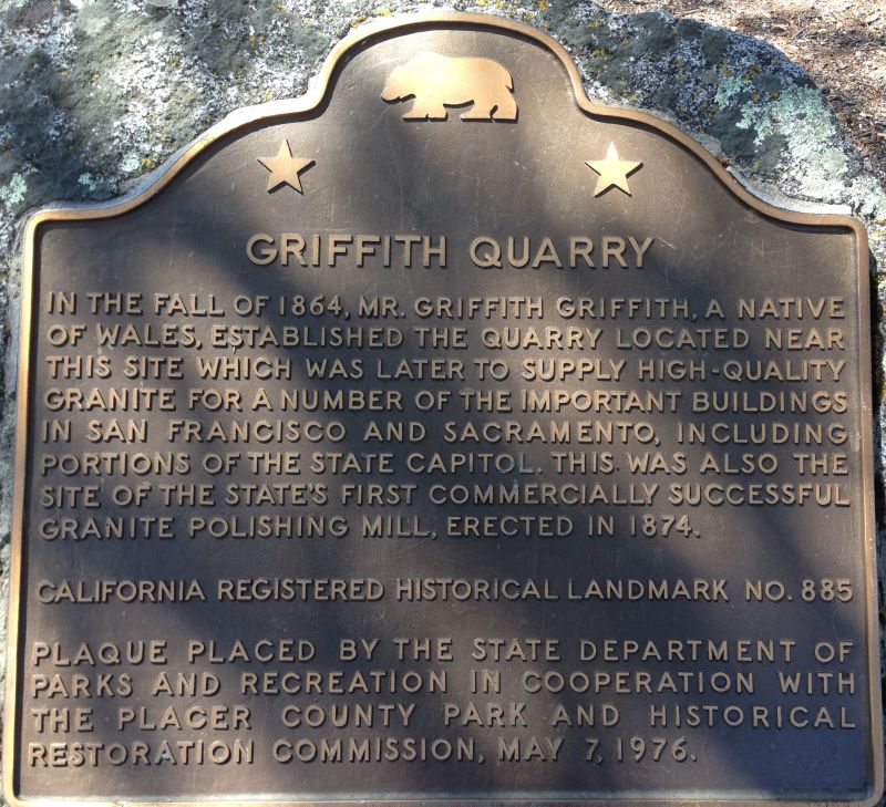 CHL #885  Griffith Quarry State Plaque