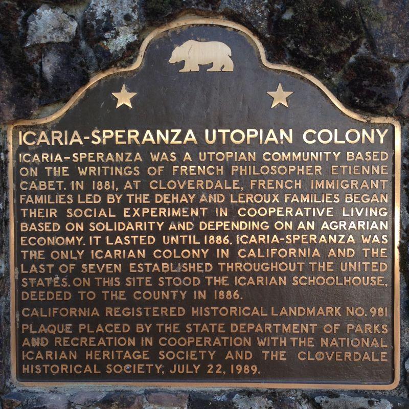CHL #981 - Icaria-Speranza Utopian Commune State Plaque
